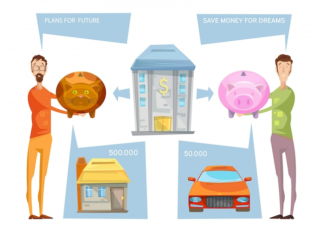 Composition conceptuelle d'objectifs financiers avec deux personnages masculins tenant des banques avec pensée bub Vecteur gratuit