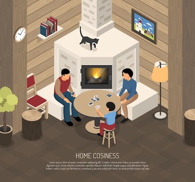 Composition De Confort à La Maison Avec La Famille Pendant Les Cartes à Jouer Près De La Cheminée Isométrique Vecteur gratuit