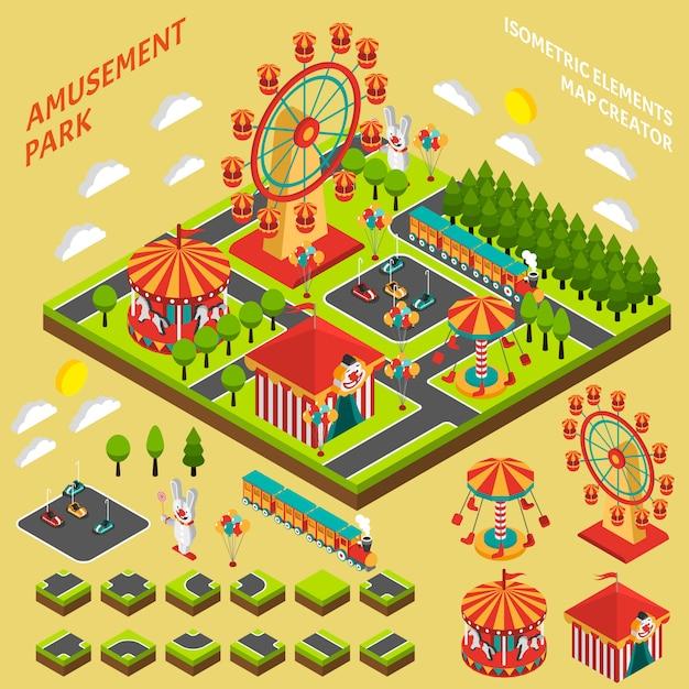 Composition d'un créateur de carte isométrique de parc d'attractions Vecteur gratuit