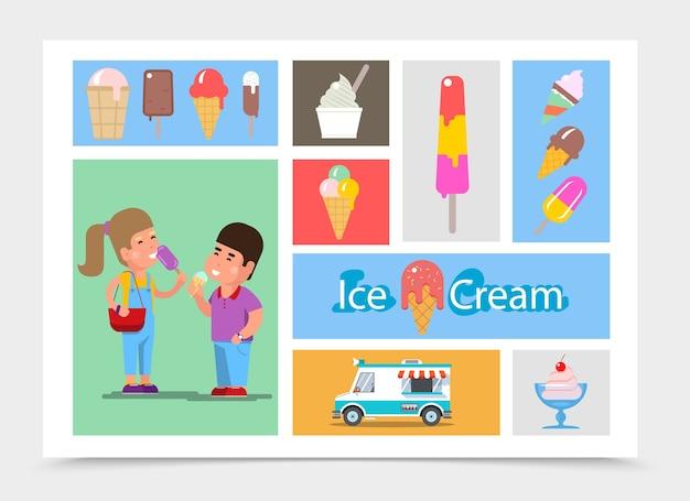 Composition De Crème Glacée Plate Vecteur gratuit