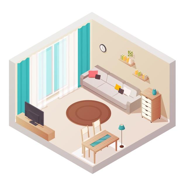 Composition de design d'intérieur isométrique salon Vecteur gratuit