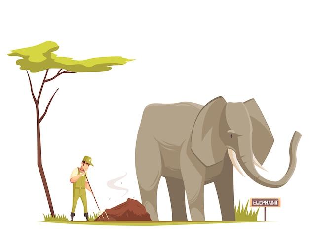 Composition de dessin animé d'éléphant au zoo Vecteur gratuit