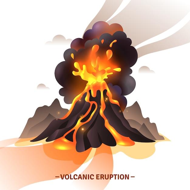 Composition De Dessin Animé D'éruption Volcanique Avec Salut Des Cendres De Magma Et De La Fumée Sortant De L'illustration Du Volcan Vecteur gratuit
