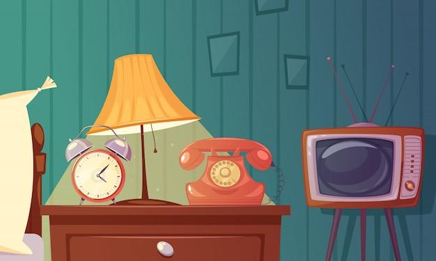 Composition de dessin animé de gadgets rétro avec réveil téléphone table de chevet lampe lampe Vecteur gratuit