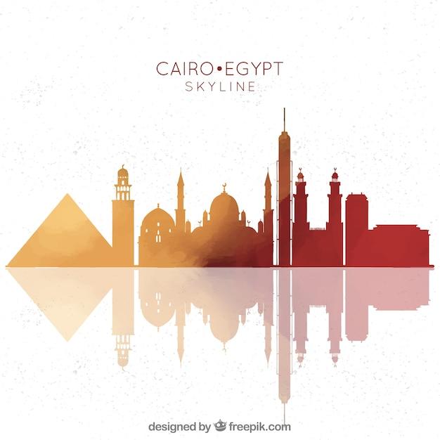 Composition dessinée avec l'horizon du cairo à la main Vecteur gratuit