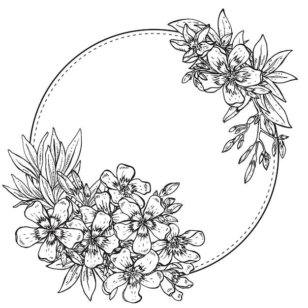 Composition Dessinée à La Main De Fleurs De Rhododendron Noir Et Blanc Vecteur Premium