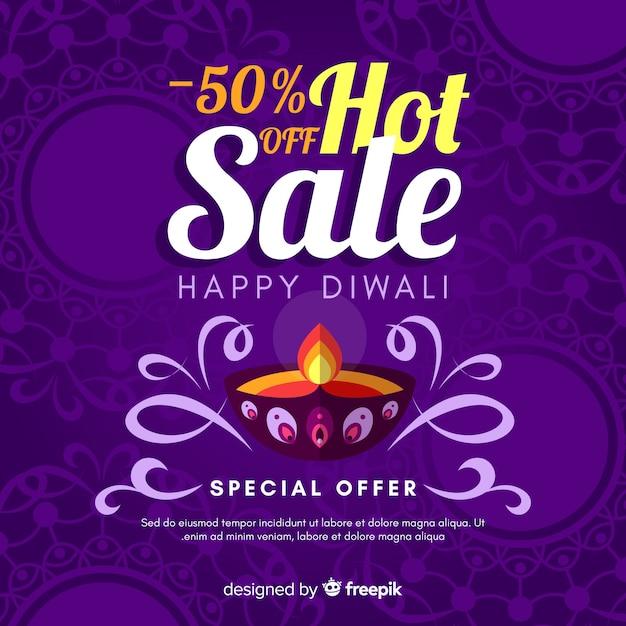 Composition de diwali élégante avec un design plat Vecteur gratuit