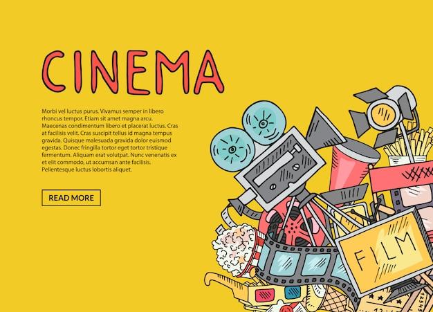 Composition de doodle cinéma vectoriel sur fond jaune avec un modèle de texte Vecteur Premium