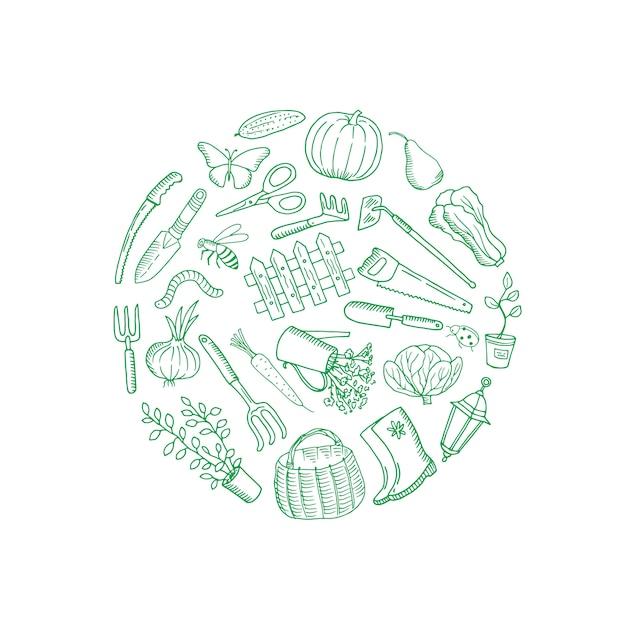 Composition de doodle de jardinage de vecteur arrondie Vecteur Premium