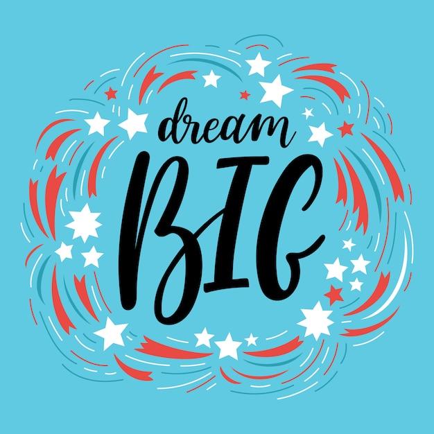 Composition De Dream Big Lettering Avec étoiles Vecteur Premium