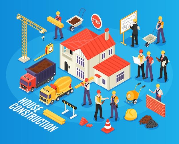 Composition Du Bâtiment De La Maison Isométrique Vecteur gratuit
