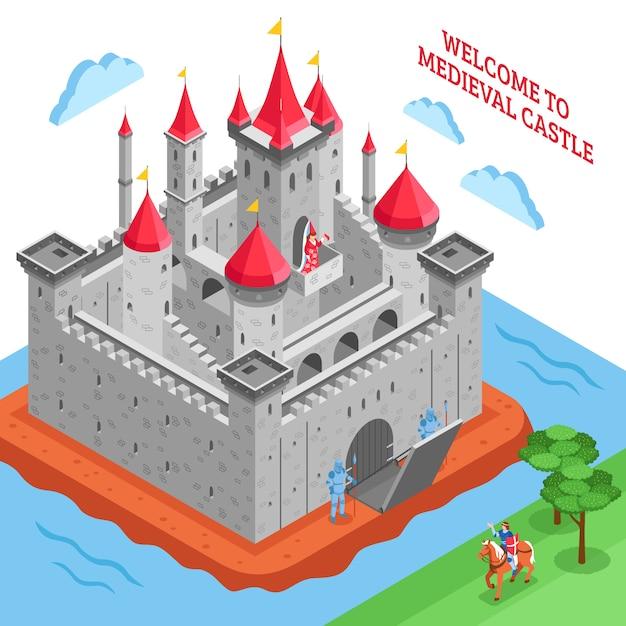 Composition du château royal européen du moyen age Vecteur gratuit