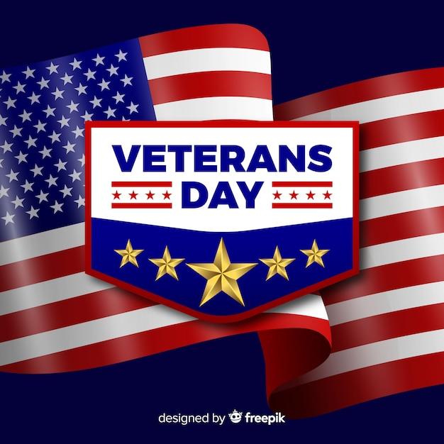 Composition du jour du vétéran avec drapeau réaliste Vecteur gratuit