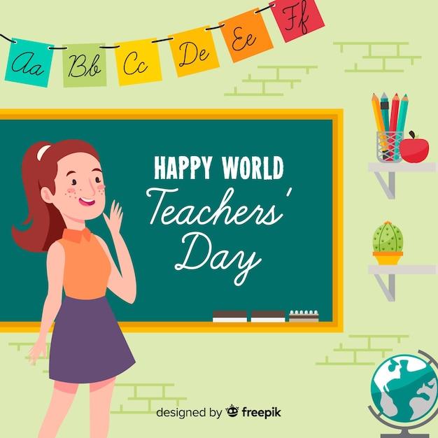 Composition du jour enseignants beau monde avec un design plat Vecteur gratuit