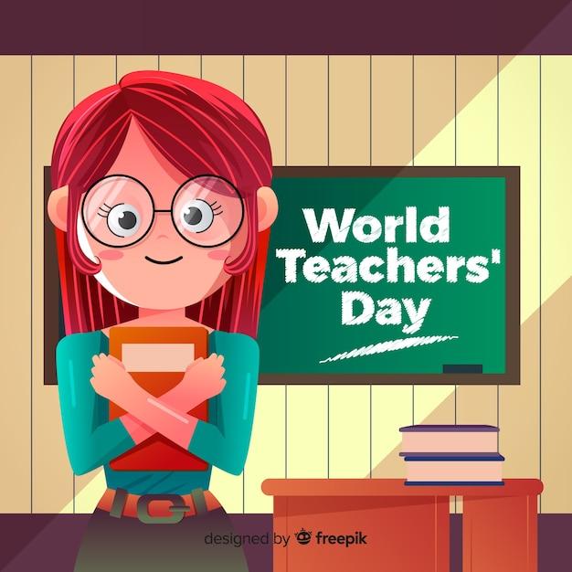 Composition du jour des enseignants du monde belle avec design plat Vecteur gratuit