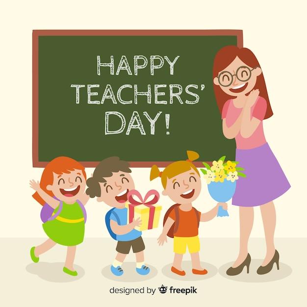 Composition du jour des enseignants du monde coloré avec un design plat Vecteur gratuit