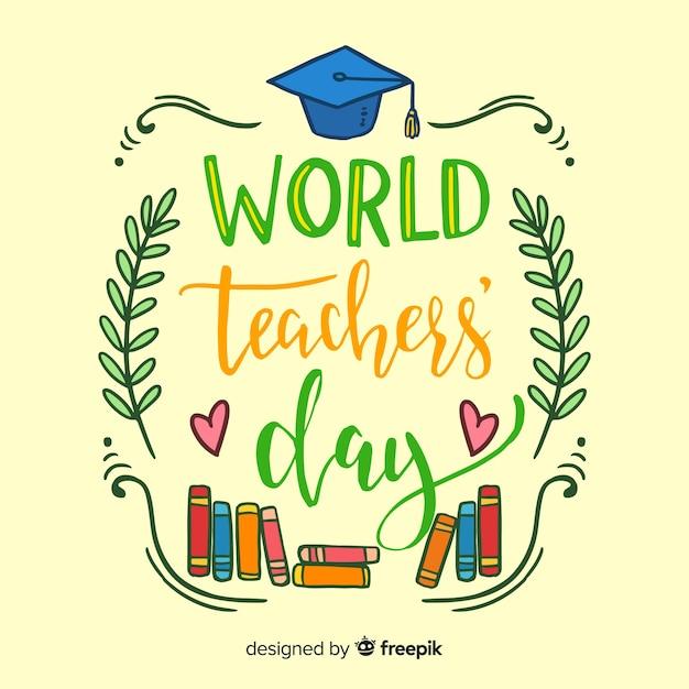 Composition du jour des enseignants du monde avec style dessiné à la main Vecteur gratuit