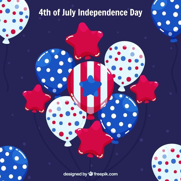 Composition du jour de l'indépendance des états-unis avec des ballons 2d Vecteur gratuit