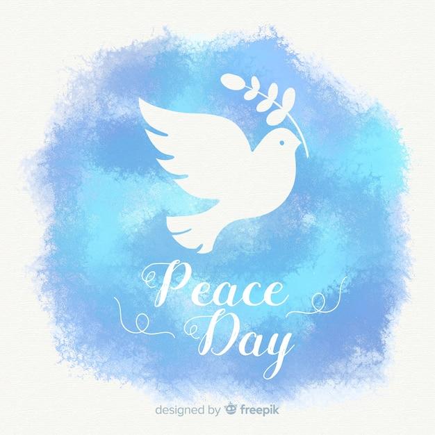 Composition du jour de la paix aquarelle avec une belle colombe Vecteur gratuit