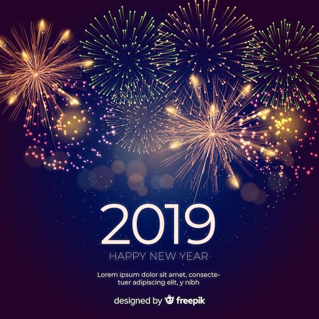 Composition du nouvel an 2019 avec feux d'artifice Vecteur gratuit