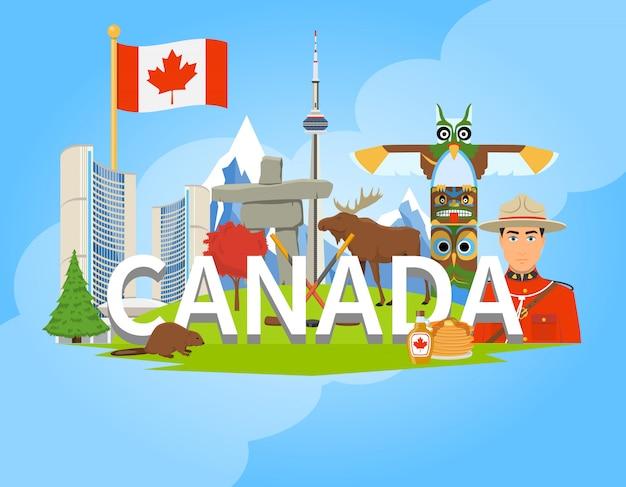 Composition du symbole canadien national flat poster Vecteur gratuit