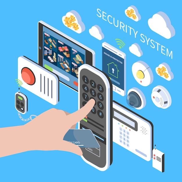 Composition Du Système De Sécurité Avec Interphone Vidéo D'alarme Incendie à Distance Icônes Isométriques Du Système De Surveillance à Domicile Vecteur gratuit
