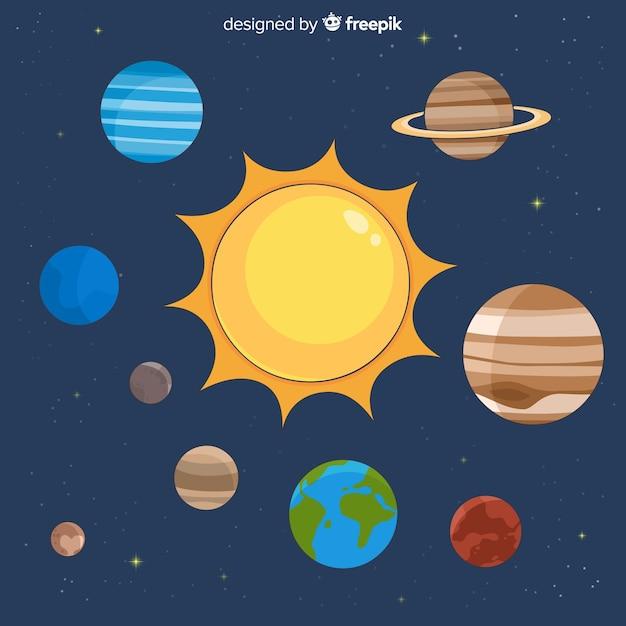 Composition du système solaire coloré avec un design plat Vecteur gratuit