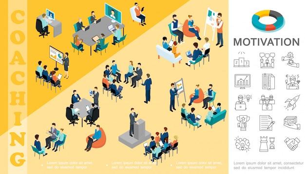 Composition De L'éducation D'entreprise Isométrique Avec Le Personnel Prendre Part à La Conférence De Coaching Séminaire Brainstorming Consultation Motivation Icônes Linéaires Vecteur gratuit