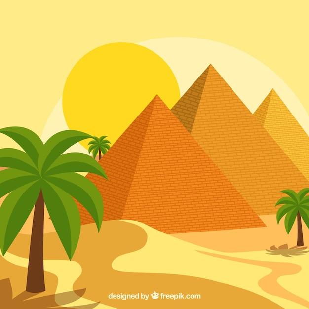 Composition de l'egypte ancienne avec un design plat Vecteur gratuit