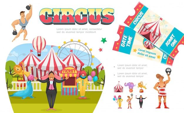 Composition D'éléments De Cirque Plat Avec Strongman Clown Magicien Tente Grande Roue Billetterie Lion Phoque éléphant Effectuant Différents Tours Vecteur Premium