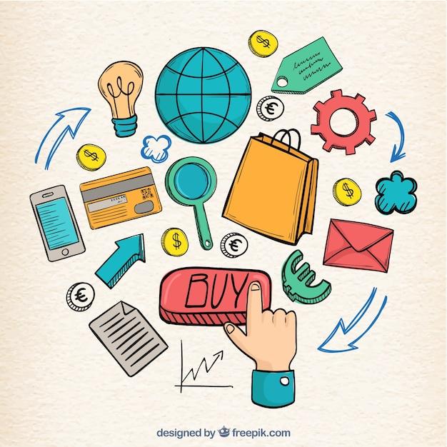 Composition d'éléments de commerce électronique dessinée à la main Vecteur gratuit