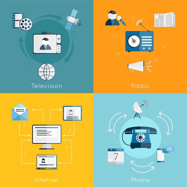 Composition des éléments de communication médias plat ensemble d'illustration vectorielle internet radio télévision téléphone isolé Vecteur gratuit