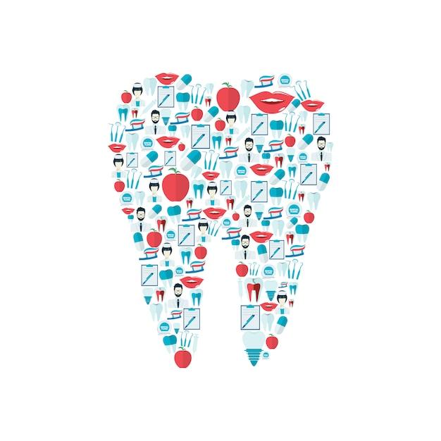 Composition d'éléments dentaires à plat Vecteur Premium