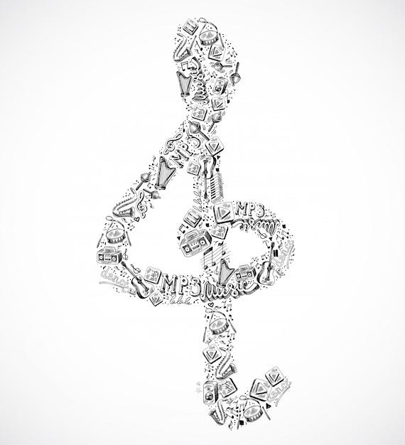 Composition d'éléments musicaux g-clef Vecteur Premium