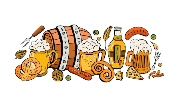 Composition Festive De L'oktoberfest De Bière, Chopes, Collations, Bretzels Et Saucisses. Vecteur Premium
