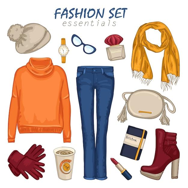Composition De Fille De Vêtements à La Mode Vecteur gratuit