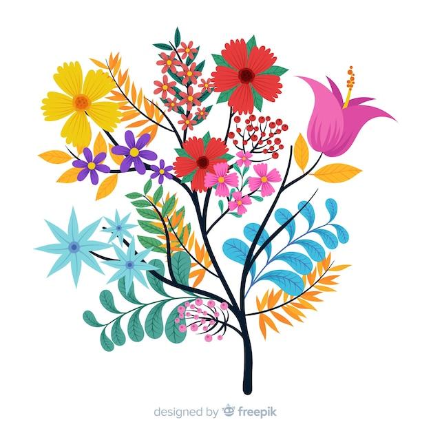 Composition avec des fleurs en fleurs et des branches dans une palette colorée Vecteur gratuit