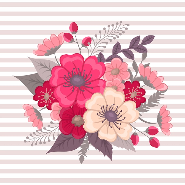 Composition florale avec des fleurs colorées. Vecteur gratuit