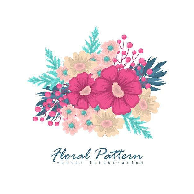 Composition florale avec des fleurs colorées. Vecteur Premium