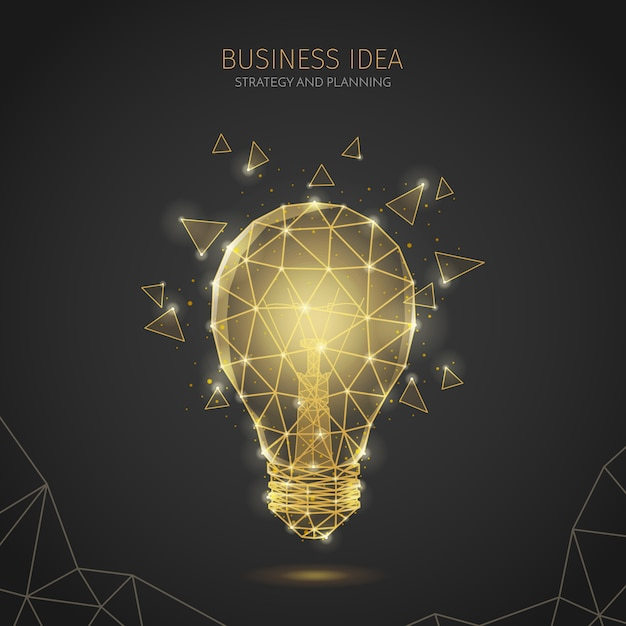 Composition De Fond De Stratégie Commerciale Filaire Polygonale Avec Texte Modifiable Et Image De Lampe à Incandescence Avec Polygones Vecteur gratuit
