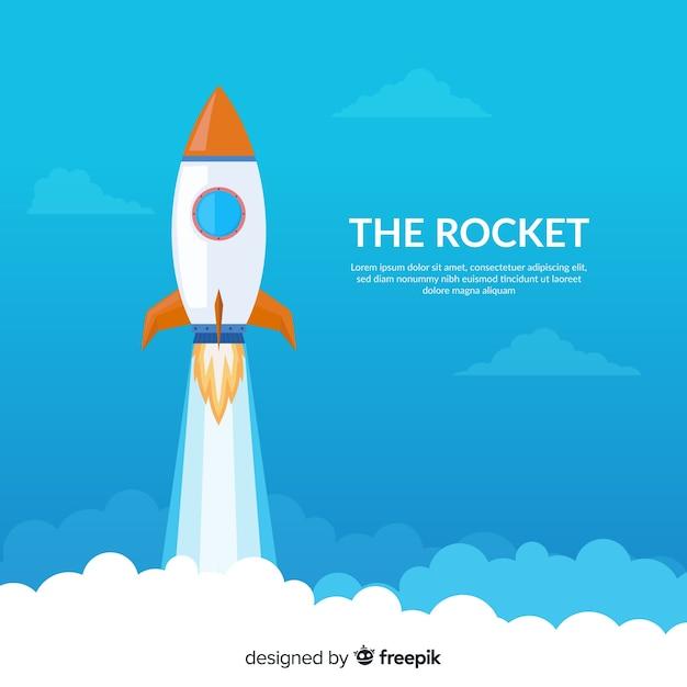 Composition de fusée colorée avec un design plat Vecteur gratuit