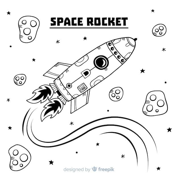 Composition de fusée dessinée à la main moderne Vecteur gratuit