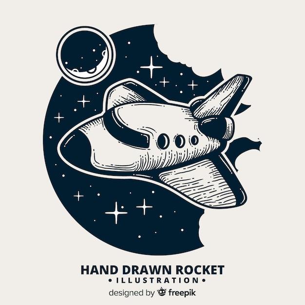 Composition de fusée de l'espace dessiné main belle Vecteur gratuit
