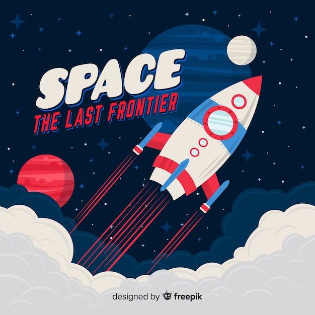 Composition de fusée spatiale classique avec style vintage Vecteur gratuit