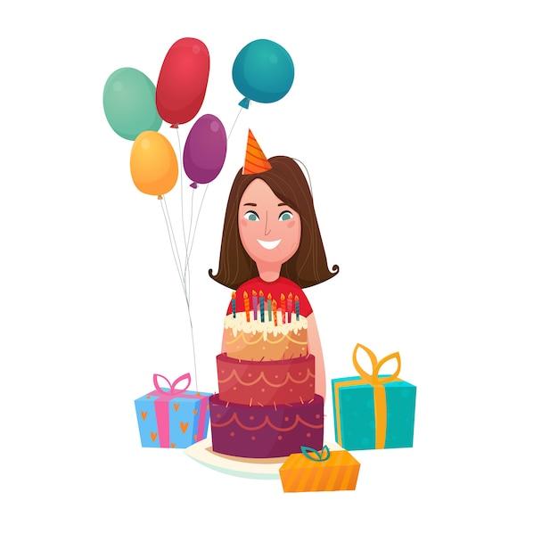 Composition de gâteau d'anniversaire fille Vecteur gratuit