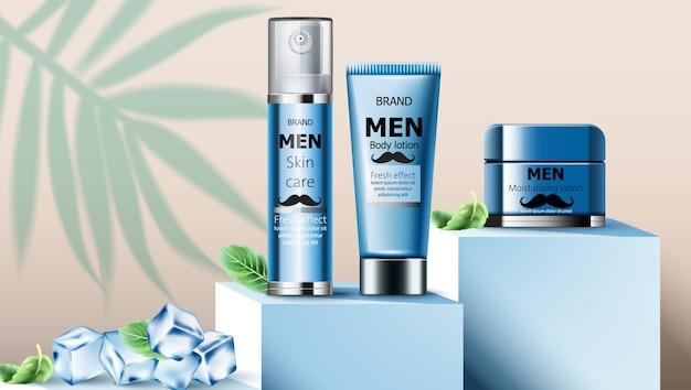 Composition D'huile De Soin De La Peau Et De Lotion Hydratante Pour Homme Vecteur Premium