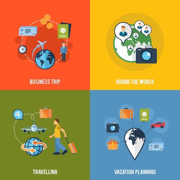 Composition d'icônes plat concept de voyage Vecteur Premium