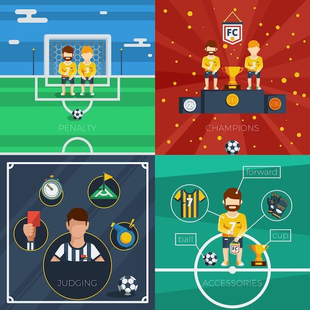 Composition d'icônes plat football Vecteur gratuit