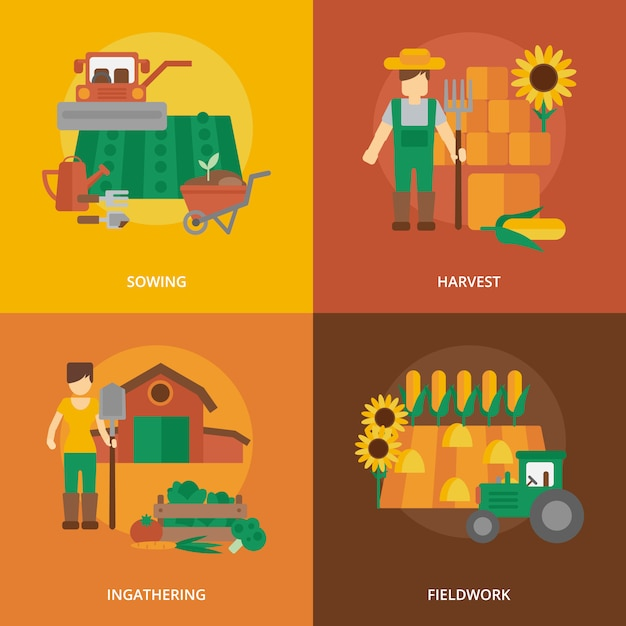 Composition d'icônes plat pays agriculteur Vecteur gratuit