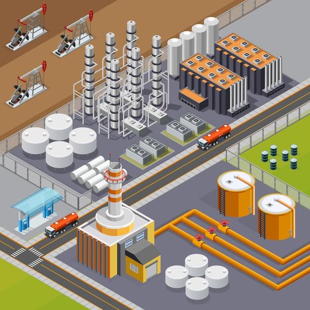 Composition De L'industrie Pétrolière Et Des Transports Avec Grande Raffinerie Et Pumpjacks 3d Illustration Vectorielle Isométrique Vecteur gratuit